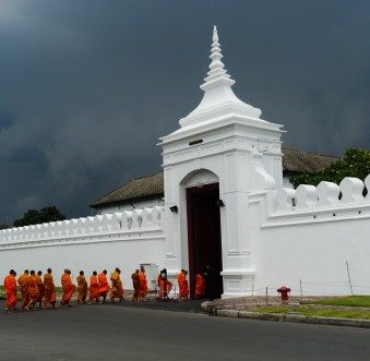 Monks entering grand palace