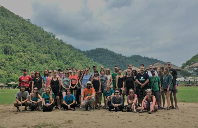 our volunteering group while volunteering with the elephants